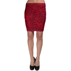 Christmas Background Red Star Bodycon Skirt