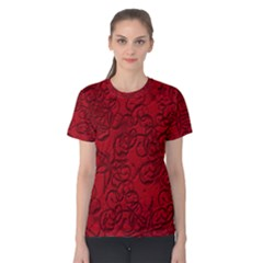 Christmas Background Red Star Women s Cotton Tee