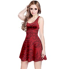 Christmas Background Red Star Reversible Sleeveless Dress