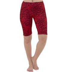 Christmas Background Red Star Cropped Leggings