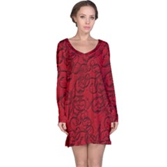 Christmas Background Red Star Long Sleeve Nightdress