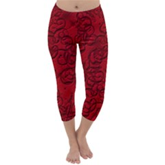 Christmas Background Red Star Capri Winter Leggings