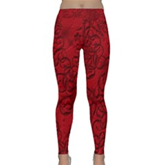 Christmas Background Red Star Classic Yoga Leggings