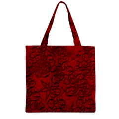 Christmas Background Red Star Zipper Grocery Tote Bag