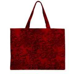 Christmas Background Red Star Zipper Mini Tote Bag