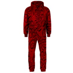 Christmas Background Red Star Hooded Jumpsuit (men)