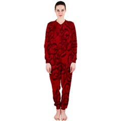 Christmas Background Red Star OnePiece Jumpsuit (Ladies)