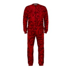 Christmas Background Red Star Onepiece Jumpsuit (kids)
