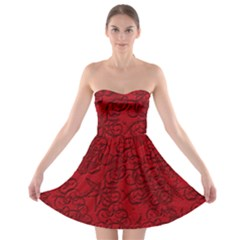 Christmas Background Red Star Strapless Bra Top Dress