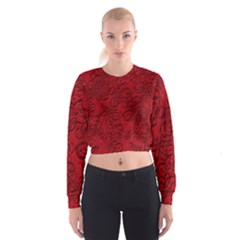 Christmas Background Red Star Cropped Sweatshirt