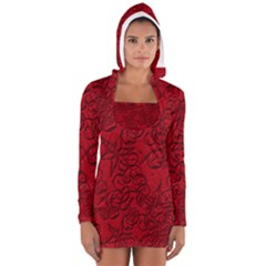 Christmas Background Red Star Women s Long Sleeve Hooded T-shirt