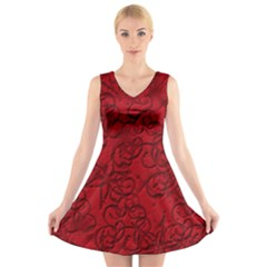 Christmas Background Red Star V Neck Sleeveless Skater Dress