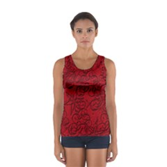 Christmas Background Red Star Women s Sport Tank Top