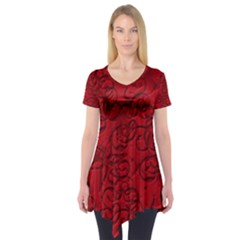 Christmas Background Red Star Short Sleeve Tunic