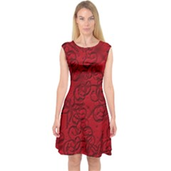 Christmas Background Red Star Capsleeve Midi Dress