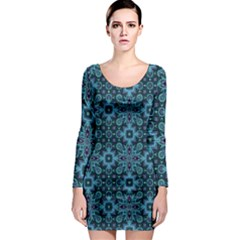 Abstract Pattern Design Texture Long Sleeve Bodycon Dress