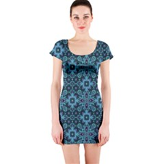 Abstract Pattern Design Texture Short Sleeve Bodycon Dress