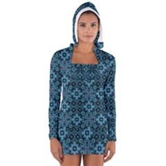 Abstract Pattern Design Texture Women s Long Sleeve Hooded T-shirt