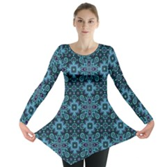 Abstract Pattern Design Texture Long Sleeve Tunic