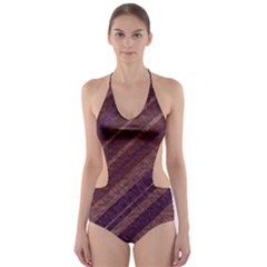 Stripes Course Texture Background Cut-Out One Piece Swimsuit