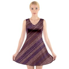 Stripes Course Texture Background V Neck Sleeveless Skater Dress