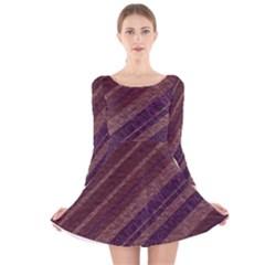 Stripes Course Texture Background Long Sleeve Velvet Skater Dress