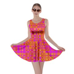 Pink Orange Bright Abstract Skater Dress