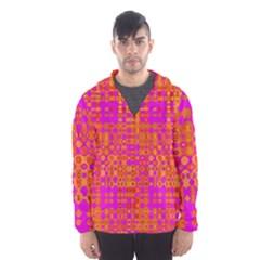 Pink Orange Bright Abstract Hooded Wind Breaker (Men)