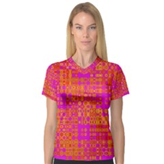 Pink Orange Bright Abstract Women s V-Neck Sport Mesh Tee