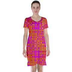 Pink Orange Bright Abstract Short Sleeve Nightdress