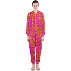 Pink Orange Bright Abstract Hooded Jumpsuit (ladies)