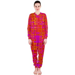 Pink Orange Bright Abstract Onepiece Jumpsuit (ladies)