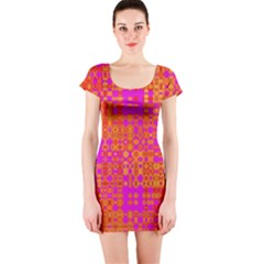 Pink Orange Bright Abstract Short Sleeve Bodycon Dress