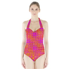 Pink Orange Bright Abstract Halter Swimsuit