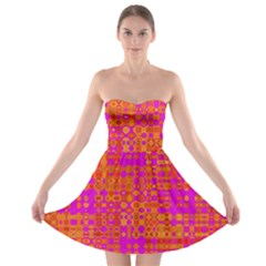 Pink Orange Bright Abstract Strapless Bra Top Dress