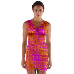 Pink Orange Bright Abstract Wrap Front Bodycon Dress