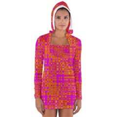 Pink Orange Bright Abstract Women s Long Sleeve Hooded T-shirt