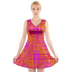 Pink Orange Bright Abstract V Neck Sleeveless Skater Dress