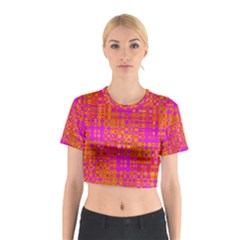 Pink Orange Bright Abstract Cotton Crop Top