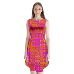 Pink Orange Bright Abstract Sleeveless Chiffon Dress