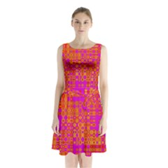Pink Orange Bright Abstract Sleeveless Chiffon Waist Tie Dress