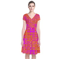 Pink Orange Bright Abstract Short Sleeve Front Wrap Dress