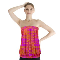 Pink Orange Bright Abstract Strapless Top