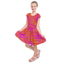 Pink Orange Bright Abstract Kids  Short Sleeve Dress
