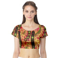 Abstract Background Digital Green Short Sleeve Crop Top (Tight Fit)