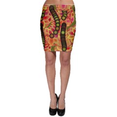 Abstract Background Digital Green Bodycon Skirt