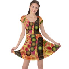 Abstract Background Digital Green Cap Sleeve Dresses