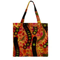 Abstract Background Digital Green Zipper Grocery Tote Bag