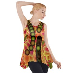 Abstract Background Digital Green Side Drop Tank Tunic