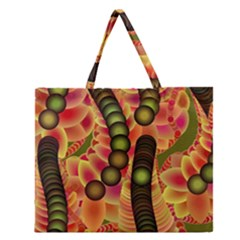Abstract Background Digital Green Zipper Large Tote Bag